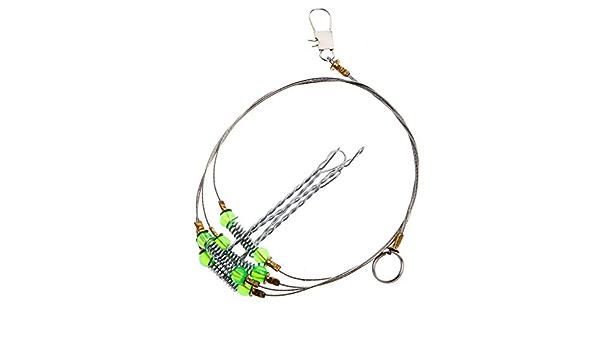 5X Anti-Winding 3 Swivel String Fishing Hook Steel Rigs Wire Leader HookSteelA