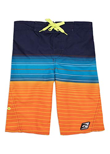 LAGUNA Boys Summer Stripe Boardshorts Swim Trunks, UPF 50+, Blue/Orange, 14/16