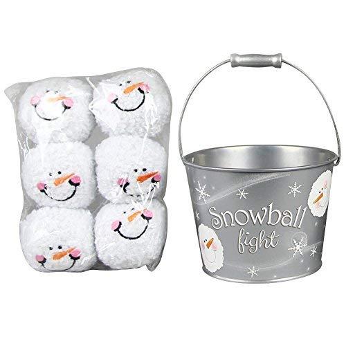 Snowball Fight! 6 Plush Snowmen Balls and a Silver Tin, Snowball - Silver Snowmen