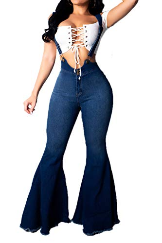 STAY CHIC High Waist Flare Bell Bottom Denim Jumpsuit Great Stretch Jumpsuit Dark denim Small  -