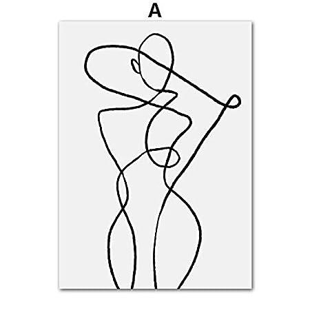 REDWPQ Curva geométrica Arte de la Pared Pintura de la Lona ...
