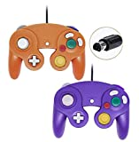 Wired Gamecube Controllers for Nintendo Wii Game Cube Switch Console (Orange and Purple)