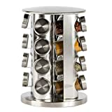 Revolving Spice Rack Tower, Rotating Seasoning Storage Organizer, Round Sturdy Kitchen Tools Container for Countertop Dinning Table, Set of 16 Jars Bottles, Stainless Steel