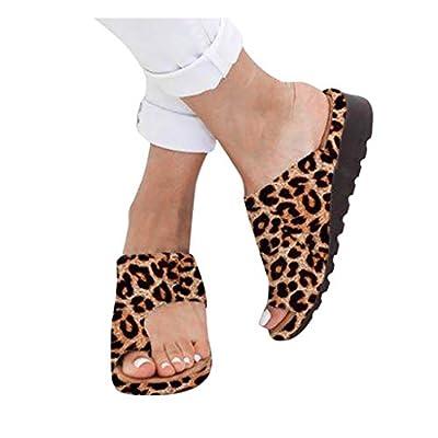 Sandals for Women Wide Width,Fudule Leopard Comfy Slippers Flip Flops Summer Beach Travel Fashion Platform Sandal Shoes: Clothing