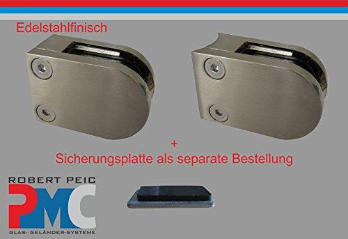 PMC Edelstahlfinisch Glashalter für Rohr 42,4mm Sicherungsplatte MOD:09