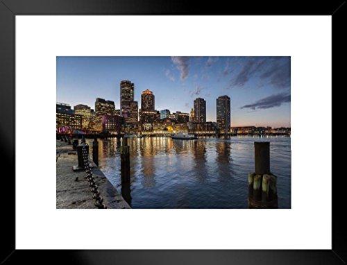 Poster Foundry Boston Massachusetts Skyline Across Harbor Photo Art Print Matted Framed Wall Art 26x20 inch
