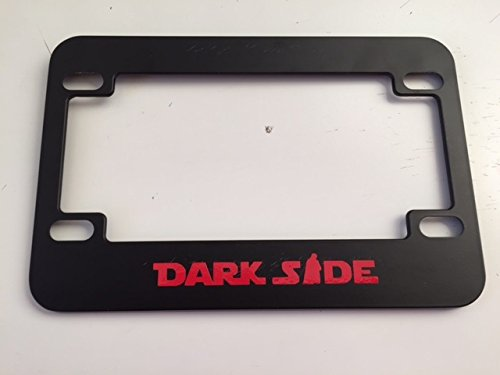 Dark Side with Darth Vader Image - Black with Red Motorcycle / Scooter License Plate Frame - Storm Trooper Darth Vader Style
