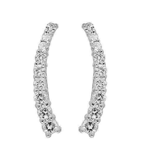 0.25 Carat (Ctw) 14k White Gold Round White Diamond Ladies Crawler Climber Earrings by DazzlingRock Collection