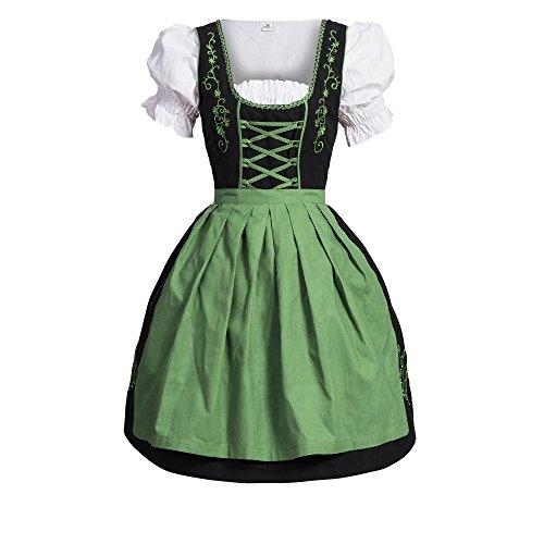 Dirndl 3 tlg.Trachtenkleid Kleid, Bluse, Schürze, Gr. 38 schwarz grün