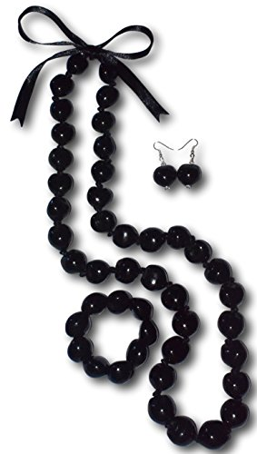 - Native Treasure - 4pc Set, Black Kukui Nut Necklace, Stretch Bracelet and Matching Earrings (36 Inches)