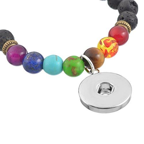 Souarts Femme Bijoux Bracelet en Perle Lave pour Snap Bouton Pression de 5.5mm 3PCS