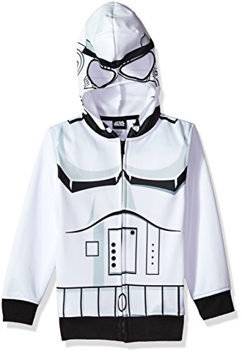 Star Wars Big Boys' Stormtrooper Fleece Zip Costume Hoodie, white/black, -