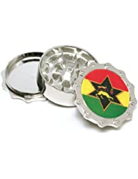 Investment #1 rasta flag Bike chain Design metal herb tobacco grinder, 3parts ,2.5 inch wide, 1 inch tall, compare