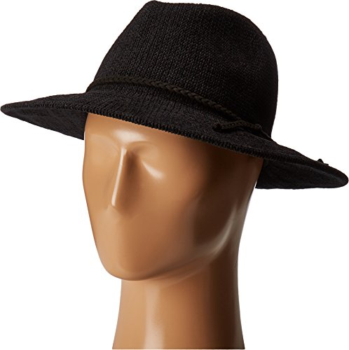 San Diego Hat Company Women's CTH8078 Knit Fedora with Braided Faux Suede Black One Size