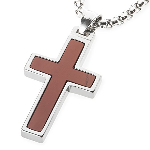 (Unique GESTALT Red Jasper Inlay Tungsten Cross Pendant. 4mm wide Surgical Stainless Steel Box Chain. 26 Inch Length)
