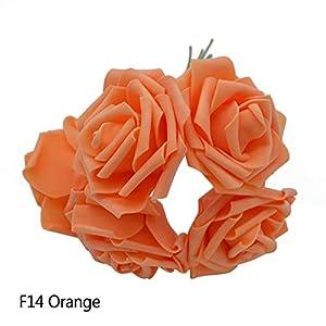 GSD2FF 10 Heads 5 Heads 8CM Artificial Rose Flowers Bridal Bridesmaid Bouquet Wedding Home Decoration Scrapbook DIY Supplies,Orange,10 Heads 62