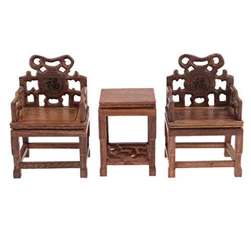 DYNWAVE 1/6 Scale Wooden Table Chair Stool Set for Dollhouse Living Room or Dining Room or Garden Decor, 12inch Dolls Accessories, Furniture for Blythe