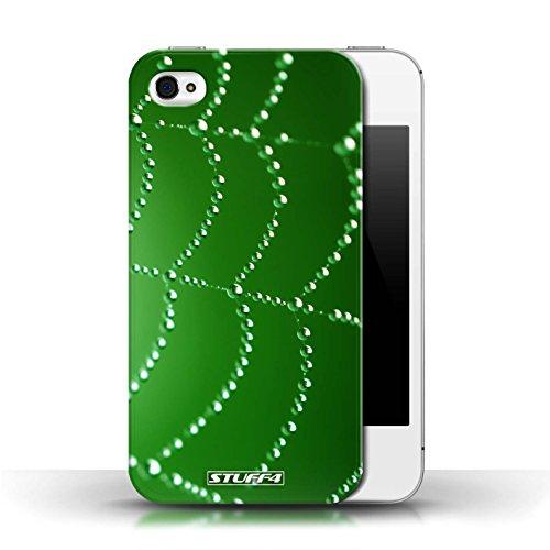 iCHOOSE Print Motif Coque de protection Case / Plastique manchon de telephone Coque pour Apple iPhone 4/4S / Collection Toile d'araignée Perles / Vert