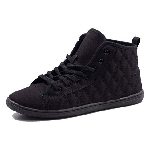 Jumex Damen High Top Turnschuhe Sommer Sneaker Steppmuster Textil Schwarz 36