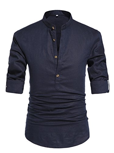 ZYFMAILY Men's Long Sleeve Henley Shirt Linen Cottton Blend Beach Shirt Loose Fit Yoga Tops Navy Blue-US 2XL