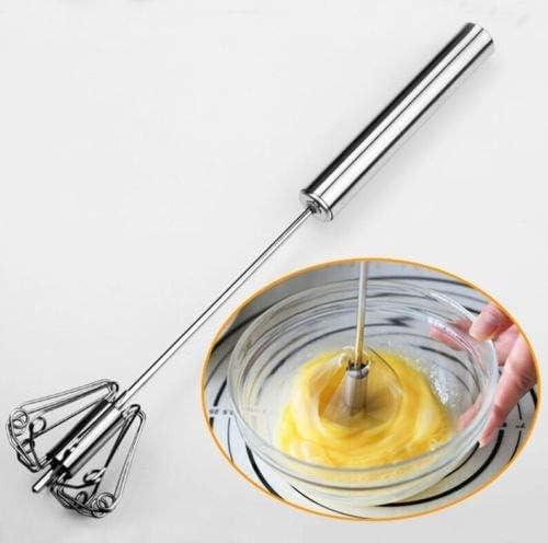 ShopVip Nouveaute! Fouet Cuisine Semi Automatique en Acier Inoxydable Batteur d'œufs, de crème, café, pâtisserie, mixeur à Main pour Lait Froid et mélanges, sauces