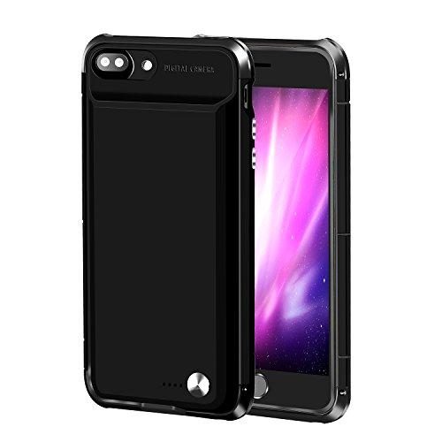 iphone 7 Plus Battery Case QARFEE 5000mAh Portable Charging Case for iPhone 7Plus (5.5 inch) Extended Super Slim Wireless Aluminum alloy ultra-light Power Bank Black