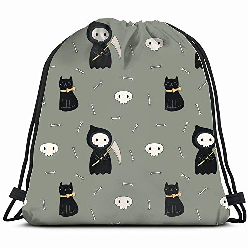 Repeat Kawaii Death Black Cat Drawstring Backpack Sports Gym Bag For Women Men Children Large Size With Zipper And Water Bottle Mesh Pockets]()
