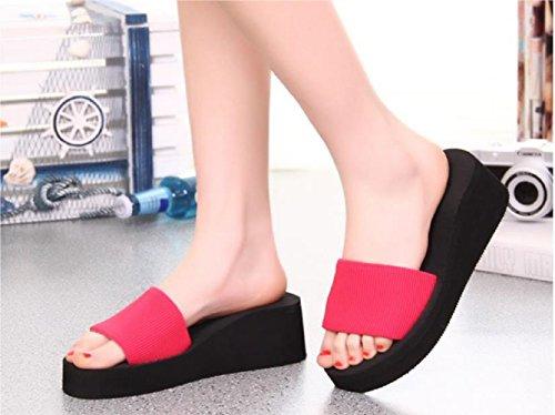 Bettyhome Vrouwen Comfortabele Thongs Casual Wiggen Sandalen Strand Slippers Slippers Roos