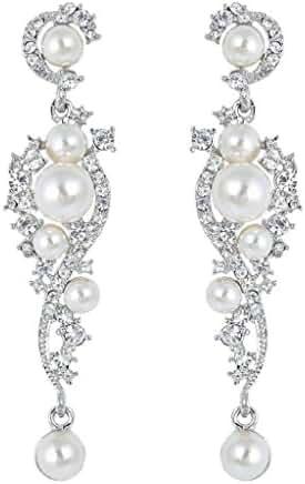 EVER FAITH Silver-Tone Austrian Crystal Cream Simulated Pearl Bridal Vine Dangle Earrings Clear