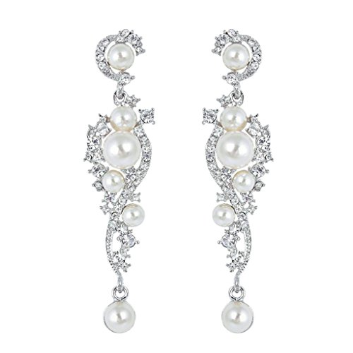 EVER FAITH Women's Austrian Crystal Cream Simulated Pearl Bridal Vine Dangle Earrings Clear Silver-Tone