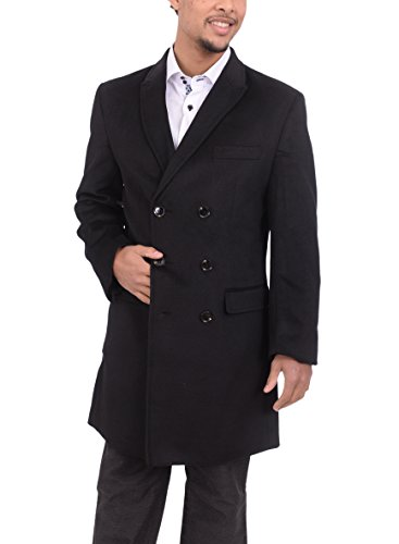 Mens Solid Black 3/4 Length Double Breasted Wool Cashmere Overcoat Top Coat - Breasted Double Cashmere