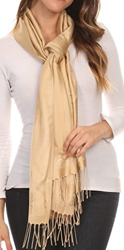 Sakkas 16114 - Seily Long Extra Wide Fringe Paisley Patterned Pashmina Shawl / Scarf - Silver / Golden - OS