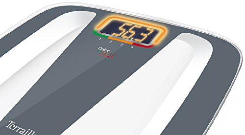 Terraillon Color Coach Quattro, Electronic Bathroom Scale, User Colour Weight Variation, Automatic on/Off, 350 lb/160 kg, Grey/White