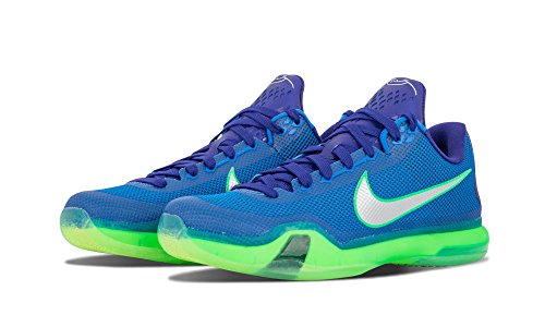 NIKE Mens Kobe X Basketball Shoe Blue Green Silver ofpc4V20c