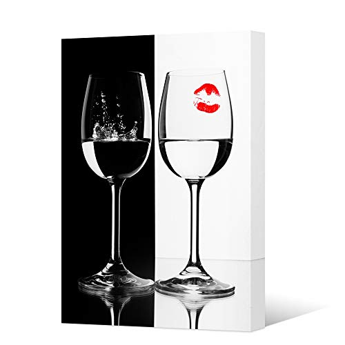- HOMEOART Black and White Wine Wall Art Red Wine Cups Red Lips Still Life Painting Canvas Prints for Kitchen Decor Bar Room Decoration Stretched and Frame Ready to Hang 16x24inch