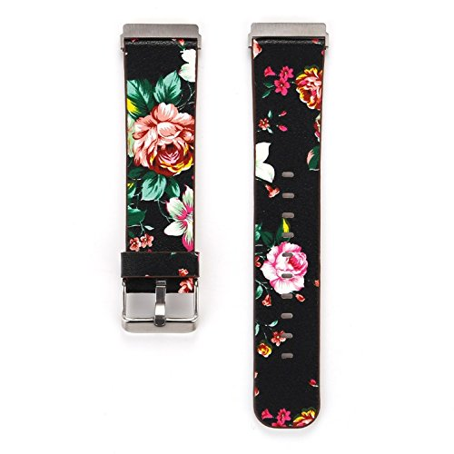 Juzzhou Smart Watch Band For Fitbit Versa Watchband Wriststrap Leather Motley Flower Bracelet Replacement Wrist Strap Wristband With Metal Adapter Adjustable Buckle Clasp For Woman Lady Girl Black by Juzzhou (Image #6)