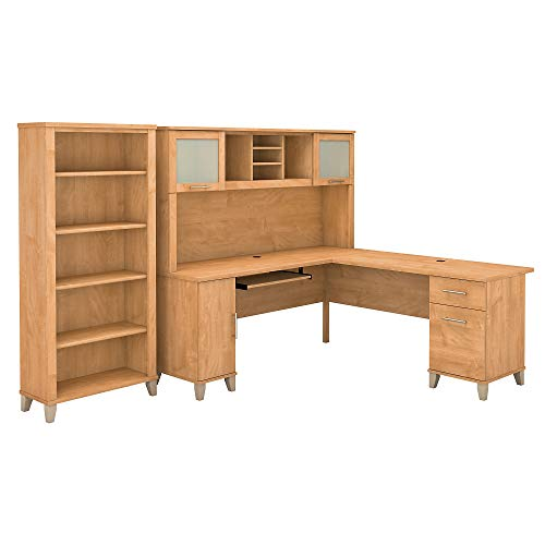 Bush Furniture Somerset 72W L Shaped Desk with Hutch and 5 Shelf Bookcase in Maple - Maple L-shaped Computer Desk