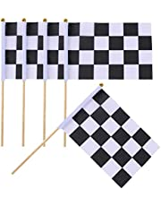 10PCS 5.5'' x 8.2'' Black White Lattice Checkered Flag Racing Polyester Flags with Plastic Stick Theme Party Favor Decoration Hand Flag for Auto Racing Sports Activities