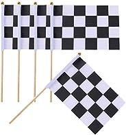 10PCS 5.5'' x 8.2'' Black White Lattice Checkered Flag Racing Polyester Flags with Plastic Sti