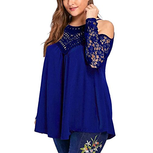 Plus Size Lace Blouse Fashion Womens Long Sleeve T-Shirt Sexy Strapless Pullover]()