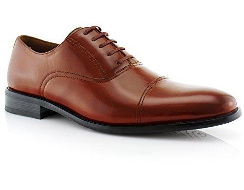 Ferro Aldo Mens Classic Captoe Lace Up Oxford Casual Dress Shoes Brown 12