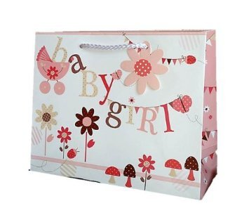New Baby Girl Large Gift Bag And Gift Wrap Pack Lovely High Quality