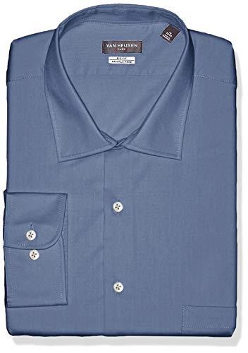 Van Heusen Men's FIT Dress Shirts Flex Collar Solid (Big and Tall), Dusty Blue, 22