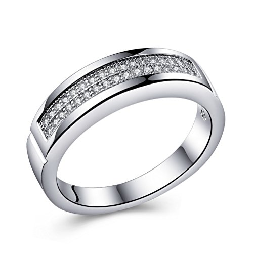 Superhai Engagement Rings Married Couples Simple Fashion Inlay AAA Zircon Gift (How To Make A Halo Costume)