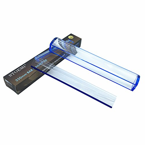 (VISIONU 10 inch 5X Magnifier with Reading Tracking Line Measuring Scale Blue Raised Domed Bar Magnifying)