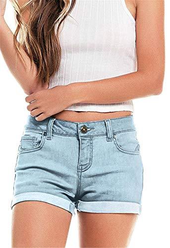 onlypuff Shorts with Pockets High Waisted Denim Shorts Light Blue Hot Pants for Women Zipper Fly XXL