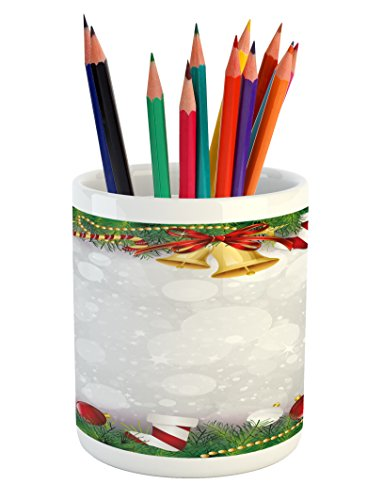 Ambesonne Christmas Pencil Pen Holder, Xmas Eve Carol Theme
