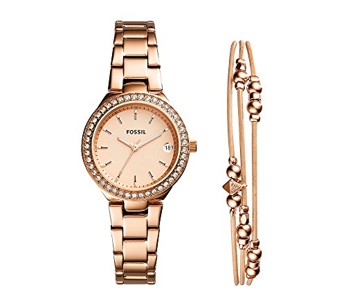 Fossil Women's 'Blane' Quartz Stainless Steel Casual Watch, Color:Rose Gold-Toned (Model: ES4337SET) by Fossil