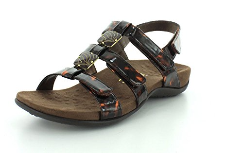 Vionic Womens 44 Rest Amber Synthetic Sandals Tortoise