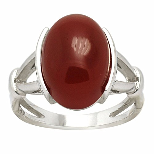 De Buman Sterling Silver Black Agate or Red Agate Ring (Red Agate Ring, Size (Agate Ring Jewelry)